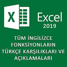 İngilizce Excel Formüllerinin Türkçe Karşılıkları ve Açıklamaları