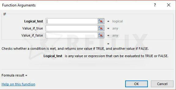Excel if fonksiyonu arayüzü