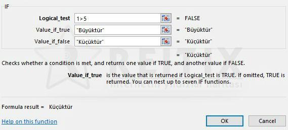 Excel if fonksiyonu parametreleri
