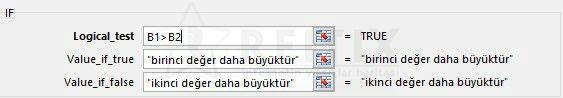 Excel if fonksiyonu değerleri