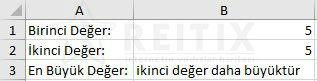 Excel if fonksiyonu örneği