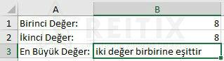 Excel if eşittir