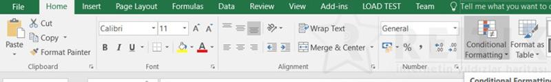Excel Conditional Formatting Menu
