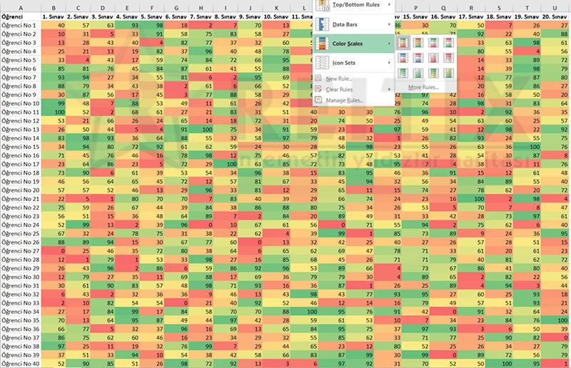 Excel Conditional Formatting color scale