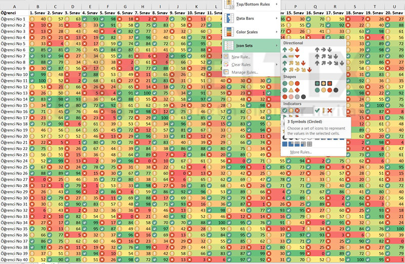 Excel Conditional Formatting icons