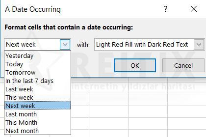 Excel Conditional Formatting tarih