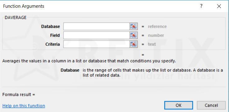 Excel DAVERAGE fonksiyonu