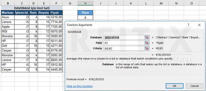 Excel DAVERAGE örnek