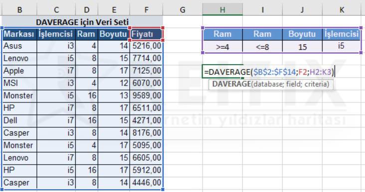Excel DAVERAGE çözüm