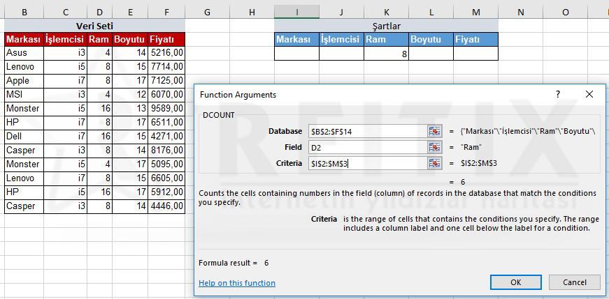 Excel DCOUNT Örnek