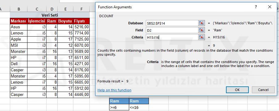 Excel DCOUNT Kullanımı