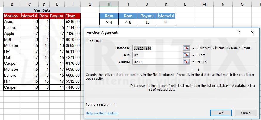 Excel DCOUNT çözüm