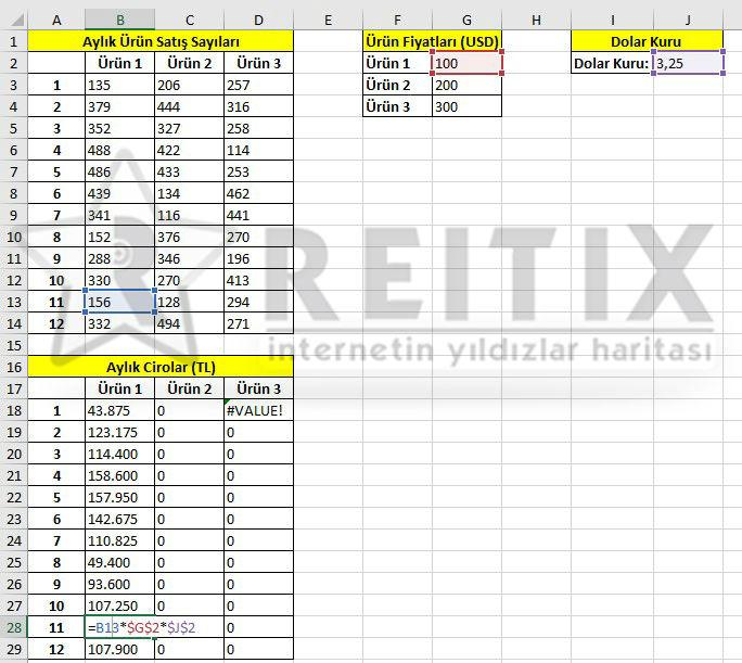 Excel hücre sabitlemek