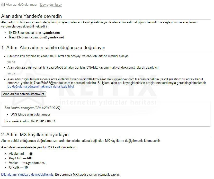 yandex kurumsal mail