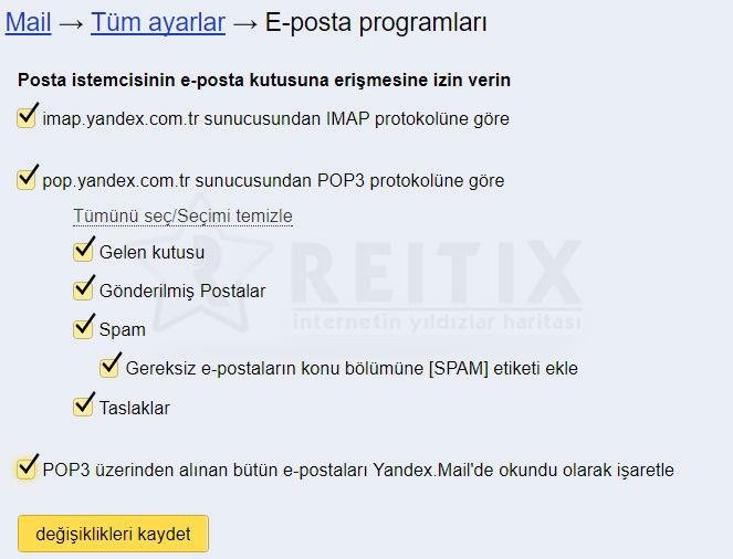 yandex mail erişim ayarları