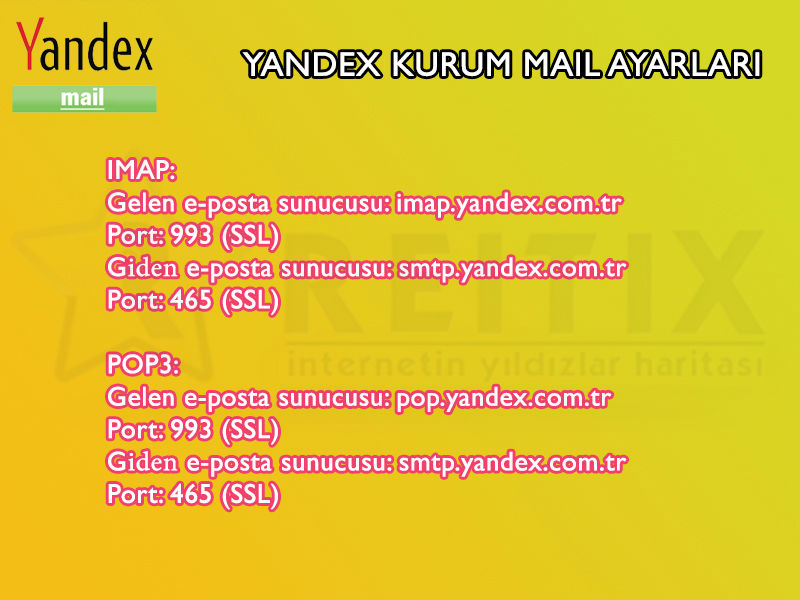 yandex mail imap pop3 smtp