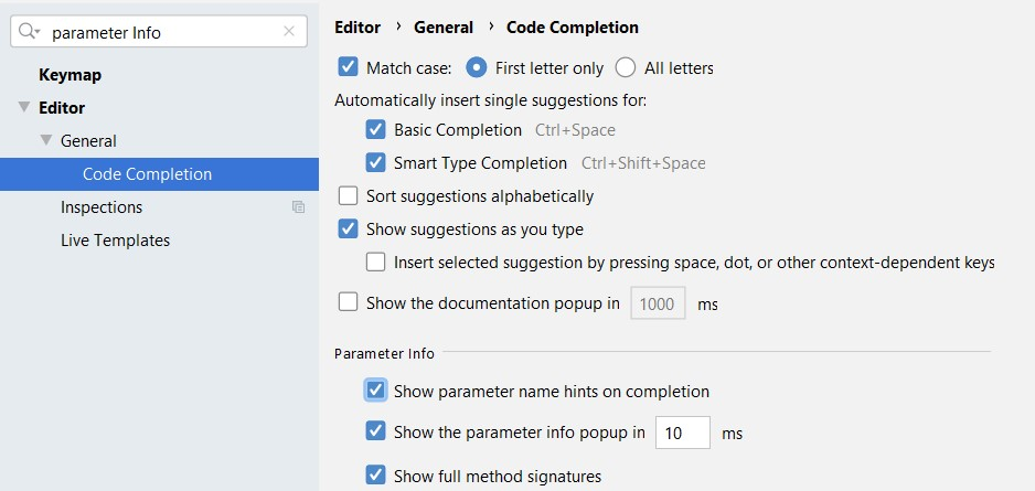 android studio parameter info