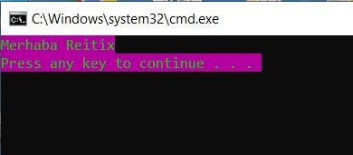c sharp konsol uygulaması renk değiştirmek