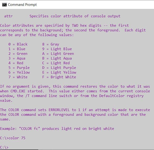 cmd color code