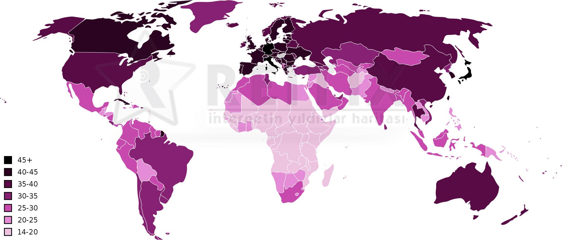 dünya yaş ortalamaları sıcaklık haritası