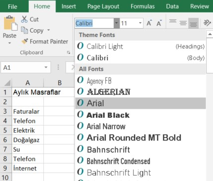 excel arial font