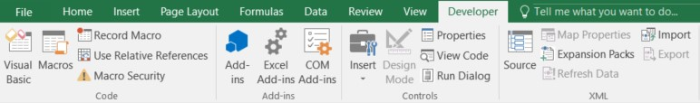 excel developer menu