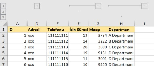 excel grouping