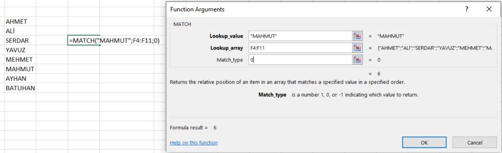 excel match fonksiyonu