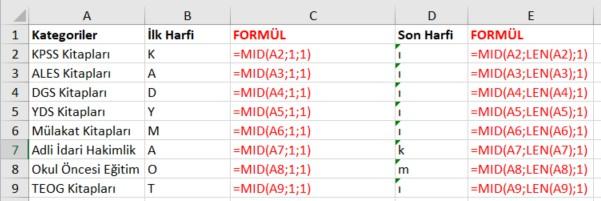 excel mid fonksiyonu ilk son harf