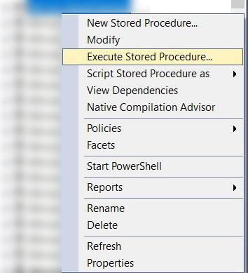 execute stored procedure