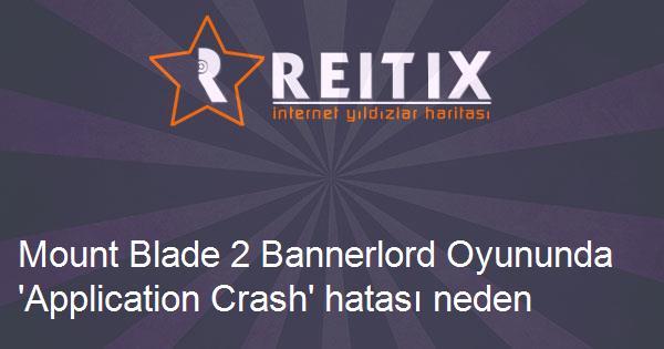 Mount Blade 2 Bannerlord Oyununda 'Application Crash' hatası neden olur?