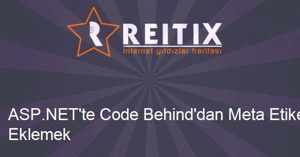 ASP.NET'te Code Behind'dan Meta Etiketi Eklemek