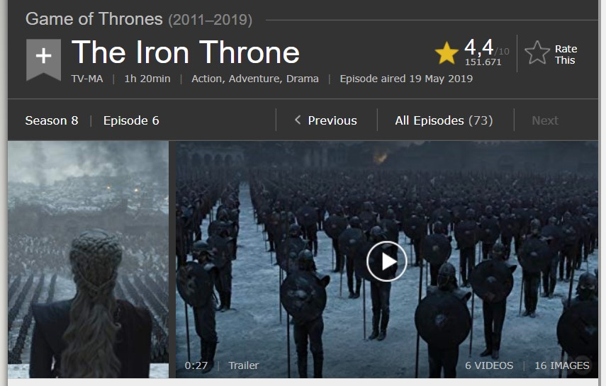 game of thrones final episode rating