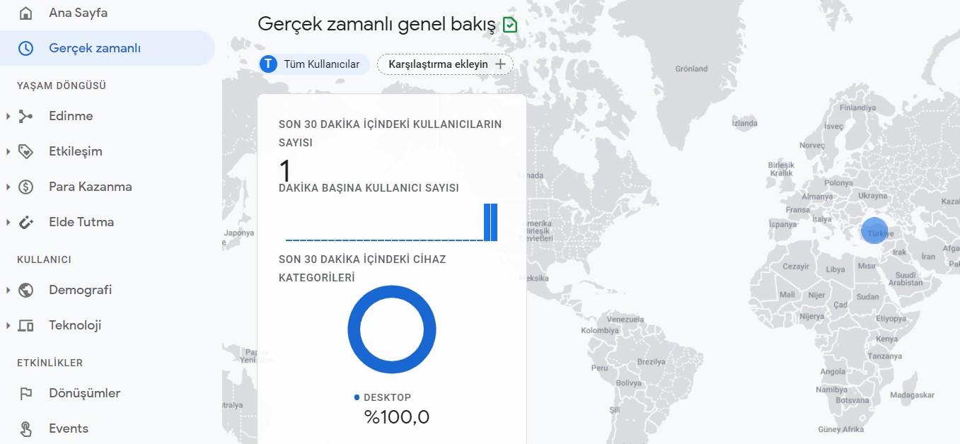 google analytics gerçek zamanlı kullanıcı