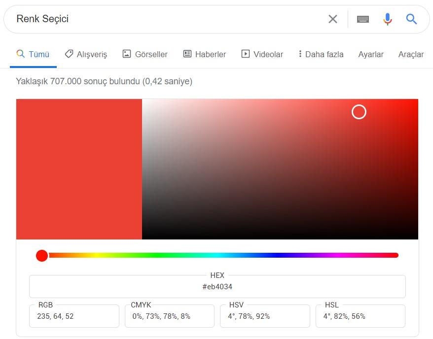 google renk seçici