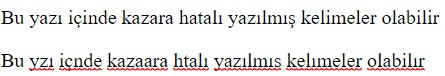 html spellcheck turkish