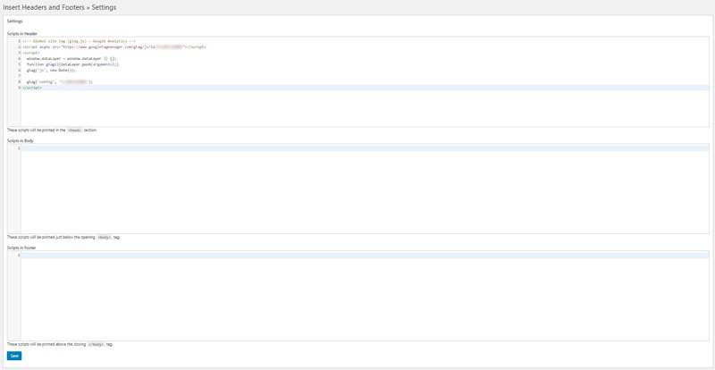 insert headers and footers google analytics