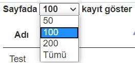 jquery datatable kayıt sayısı