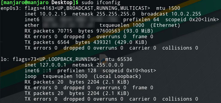 linux manjaro ifconfig