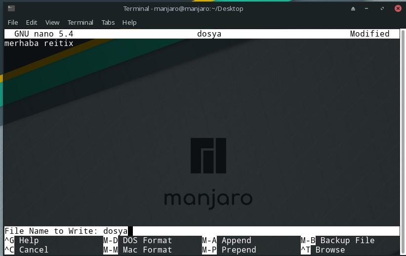 linux nano kod kullanımı