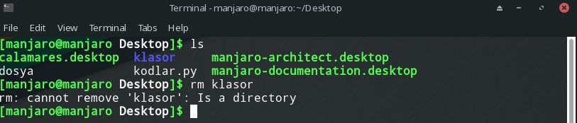 linux terminal cannot remove is a directory