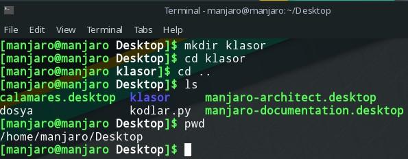 linux terminal ekranı