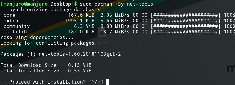 pacman install net-tools