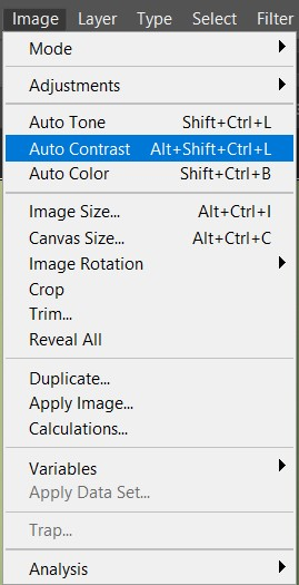 photoshop auto contrast menu