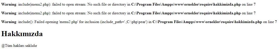 php include error
