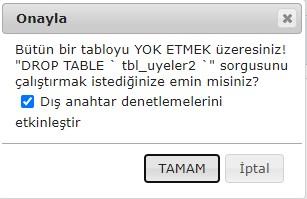 phpmyadmin drop table