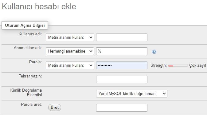 phpmyadmin kullanıcı ekle