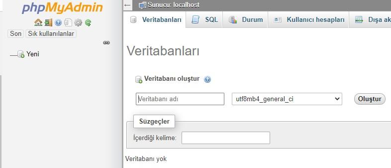 phpmyadmin yeni veritabanı eklemek