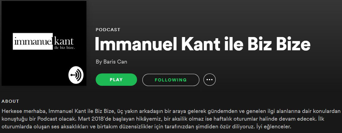 spotiify immanuel kant ile biz bize podcast