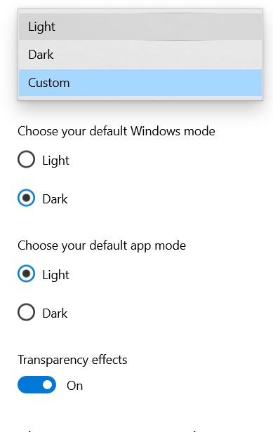 windows 10 colors light dark